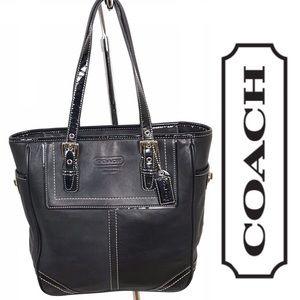 Coach Hamptons Black Leather Zipper Top Tote Bag